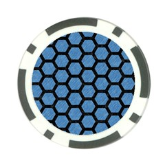 Hexagon2 Black Marble & Blue Colored Pencil (r) Poker Chip Card Guard by trendistuff