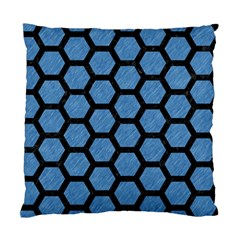 Hexagon2 Black Marble & Blue Colored Pencil (r) Standard Cushion Case (two Sides) by trendistuff
