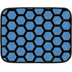Hexagon2 Black Marble & Blue Colored Pencil (r) Fleece Blanket (mini)