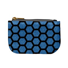 Hexagon2 Black Marble & Blue Colored Pencil (r) Mini Coin Purse by trendistuff