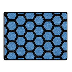 Hexagon2 Black Marble & Blue Colored Pencil (r) Fleece Blanket (small) by trendistuff