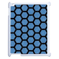 Hexagon2 Black Marble & Blue Colored Pencil (r) Apple Ipad 2 Case (white) by trendistuff