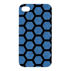 Hexagon2 Black Marble & Blue Colored Pencil (r) Apple Iphone 4/4s Premium Hardshell Case by trendistuff
