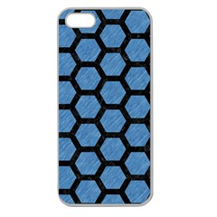 Hexagon2 Black Marble & Blue Colored Pencil (r) Apple Seamless Iphone 5 Case (clear) by trendistuff