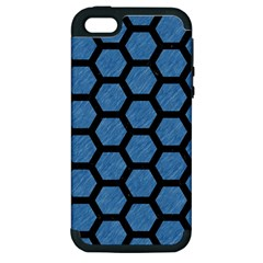 Hexagon2 Black Marble & Blue Colored Pencil (r) Apple Iphone 5 Hardshell Case (pc+silicone) by trendistuff