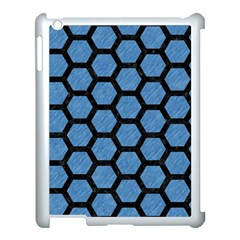 Hexagon2 Black Marble & Blue Colored Pencil (r) Apple Ipad 3/4 Case (white) by trendistuff