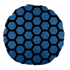 Hexagon2 Black Marble & Blue Colored Pencil (r) Large 18  Premium Round Cushion  by trendistuff