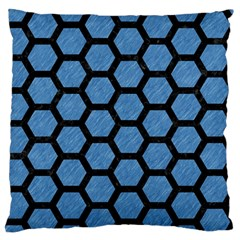 Hexagon2 Black Marble & Blue Colored Pencil (r) Large Flano Cushion Case (two Sides) by trendistuff