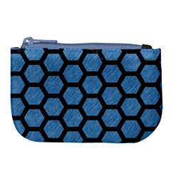 Hexagon2 Black Marble & Blue Colored Pencil (r) Large Coin Purse by trendistuff
