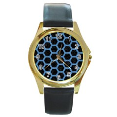 Hexagon2 Black Marble & Blue Colored Pencil Round Gold Metal Watch by trendistuff