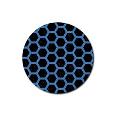 Hexagon2 Black Marble & Blue Colored Pencil Rubber Round Coaster (4 Pack) by trendistuff