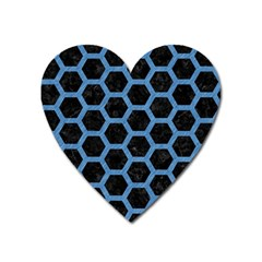 Hexagon2 Black Marble & Blue Colored Pencil Magnet (heart) by trendistuff