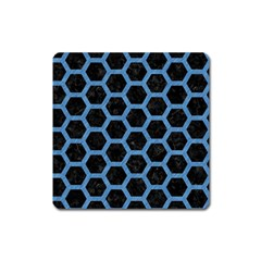 Hexagon2 Black Marble & Blue Colored Pencil Magnet (square) by trendistuff