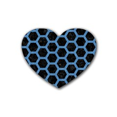Hexagon2 Black Marble & Blue Colored Pencil Rubber Coaster (heart) by trendistuff