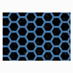 Hexagon2 Black Marble & Blue Colored Pencil Large Glasses Cloth (2 Sides) by trendistuff