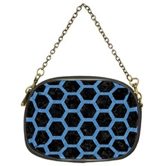 Hexagon2 Black Marble & Blue Colored Pencil Chain Purse (one Side) by trendistuff