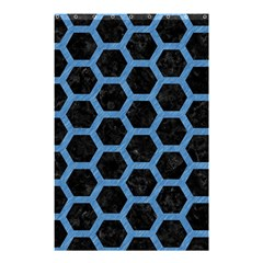 Hexagon2 Black Marble & Blue Colored Pencil Shower Curtain 48  X 72  (small) by trendistuff