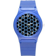 Hexagon2 Black Marble & Blue Colored Pencil Round Plastic Sport Watch (s) by trendistuff