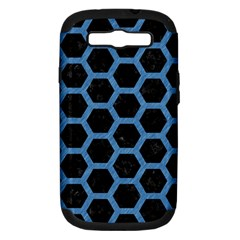Hexagon2 Black Marble & Blue Colored Pencil Samsung Galaxy S Iii Hardshell Case (pc+silicone) by trendistuff