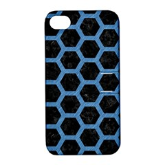 Hexagon2 Black Marble & Blue Colored Pencil Apple Iphone 4/4s Hardshell Case With Stand by trendistuff