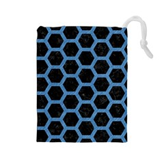 Hexagon2 Black Marble & Blue Colored Pencil Drawstring Pouch (large) by trendistuff