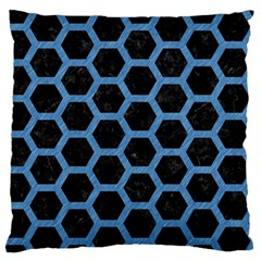 Hexagon2 Black Marble & Blue Colored Pencil Standard Flano Cushion Case (two Sides) by trendistuff