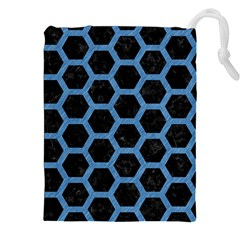 Hexagon2 Black Marble & Blue Colored Pencil Drawstring Pouch (xxl) by trendistuff