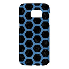 Hexagon2 Black Marble & Blue Colored Pencil Samsung Galaxy S7 Edge Hardshell Case by trendistuff