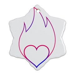 Heart Flame Logo Emblem Snowflake Ornament (two Sides) by Nexatart