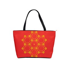 Pentagon Cells Chemistry Yellow Shoulder Handbags by Nexatart