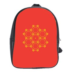 Pentagon Cells Chemistry Yellow School Bags(large)  by Nexatart