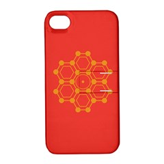 Pentagon Cells Chemistry Yellow Apple Iphone 4/4s Hardshell Case With Stand by Nexatart