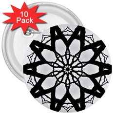 Pattern Abstract Fractal 3  Buttons (10 Pack)