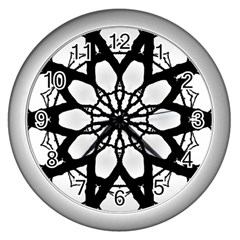 Pattern Abstract Fractal Wall Clocks (silver)  by Nexatart