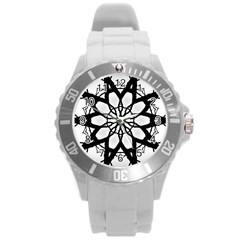 Pattern Abstract Fractal Round Plastic Sport Watch (l)