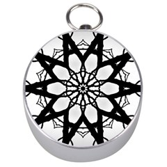 Pattern Abstract Fractal Silver Compasses
