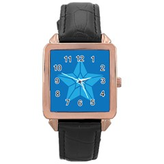 Star Design Pattern Texture Sign Rose Gold Leather Watch