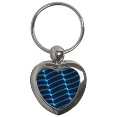 Background Light Glow Blue Key Chains (heart)  by Nexatart