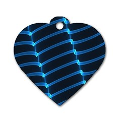 Background Light Glow Blue Dog Tag Heart (one Side)
