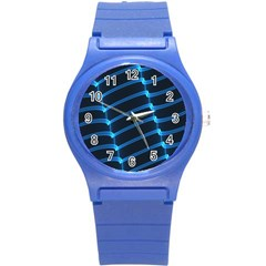 Background Light Glow Blue Round Plastic Sport Watch (s)