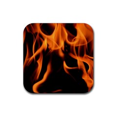 Fire Flame Heat Burn Hot Rubber Square Coaster (4 Pack)  by Nexatart