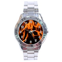 Fire Flame Heat Burn Hot Stainless Steel Analogue Watch by Nexatart