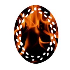 Fire Flame Heat Burn Hot Oval Filigree Ornament (two Sides) by Nexatart