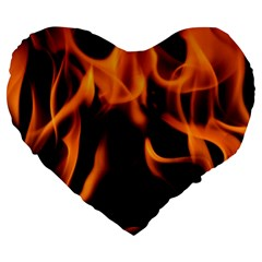 Fire Flame Heat Burn Hot Large 19  Premium Heart Shape Cushions