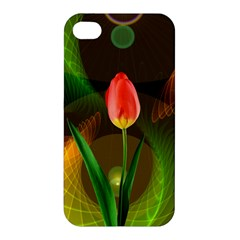 Tulip Flower Background Nebulous Apple Iphone 4/4s Hardshell Case
