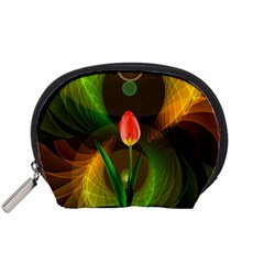 Tulip Flower Background Nebulous Accessory Pouches (small)  by Nexatart
