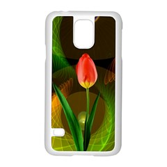 Tulip Flower Background Nebulous Samsung Galaxy S5 Case (white) by Nexatart