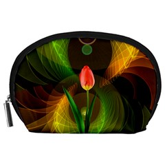 Tulip Flower Background Nebulous Accessory Pouches (large)  by Nexatart