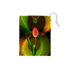 Tulip Flower Background Nebulous Drawstring Pouches (small)  by Nexatart