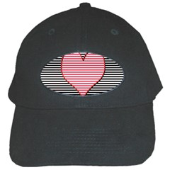 Heart Stripes Symbol Striped Black Cap by Nexatart